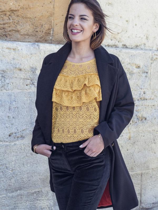 tops-chemises - Blouse Kim en dentelle jaune