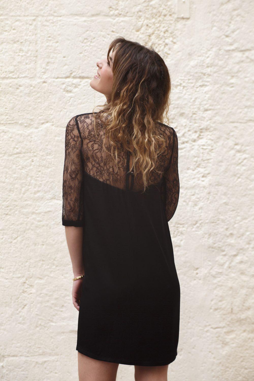 robe noire en dentelle de calais made in France