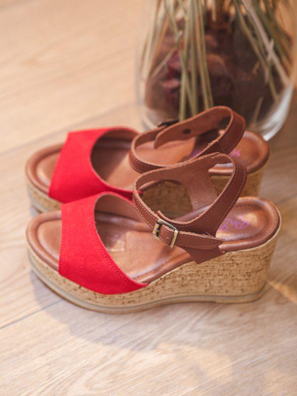 sandales cuir rouge