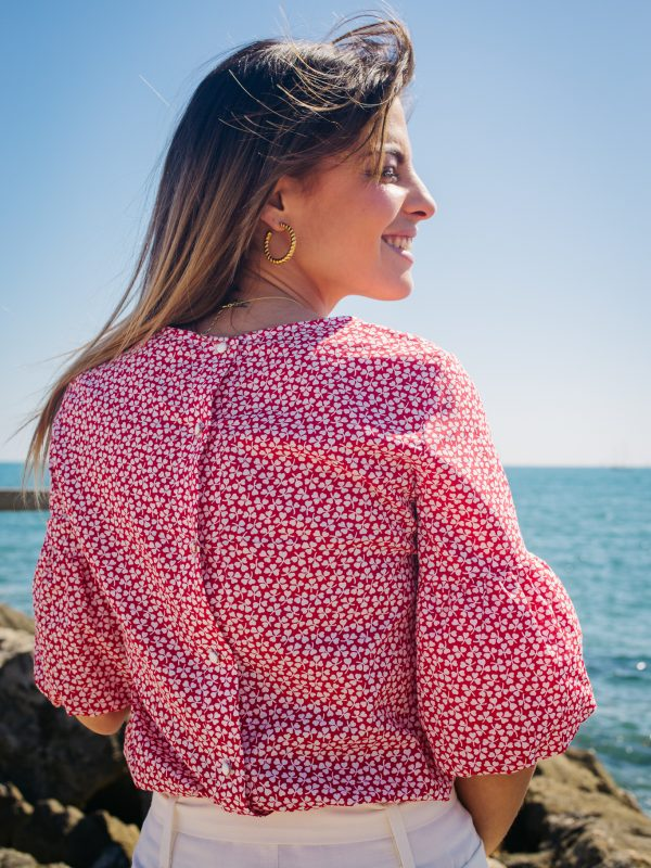 blouse rouge en coton made in France