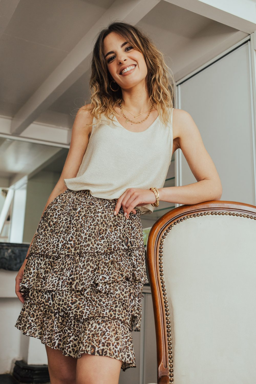 jupe été courte en viscose motif léopard