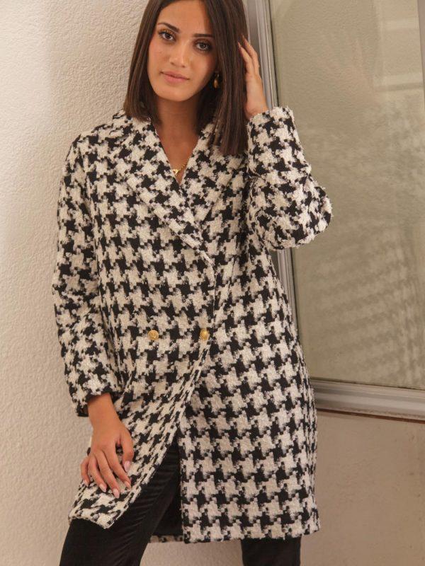 manteau en laine tweed motif pied de poule
