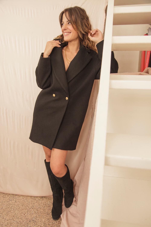 manteau en laine et cachemire recyclé made in France