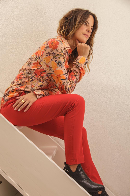 pantalon rouge orange made in France