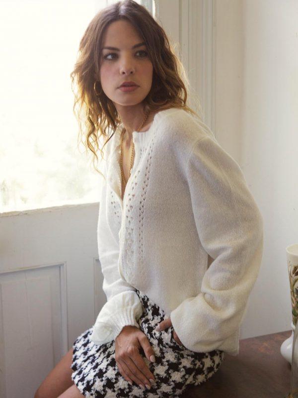 gilet blanc en laine très chaud