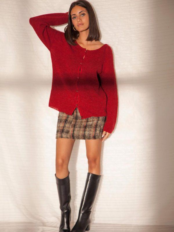 gilet en laine rouge bordeaux